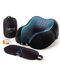 AIRTH® Reise-Nackenkissen Nackenhörnchen aus Memory-Schaum-Stoff optimal stützend Dank Memory-Foam | Premium Reisekissen mit GRATIS Schlafmaske und Ohrenstöpsel