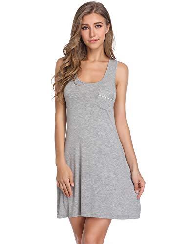 Lusofie Damen Sommer Nachthemd Ärmellose Nachtwäsche Kurzes Nachthemden Racerback Nachtkleid (700 Grau, XL) -