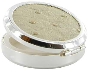 Stratton Pilulier (Argenté/motif autruche blanc)