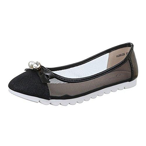 Damen Schuhe, HJ99-29, BALLERINAS SLIPPER Schwarz