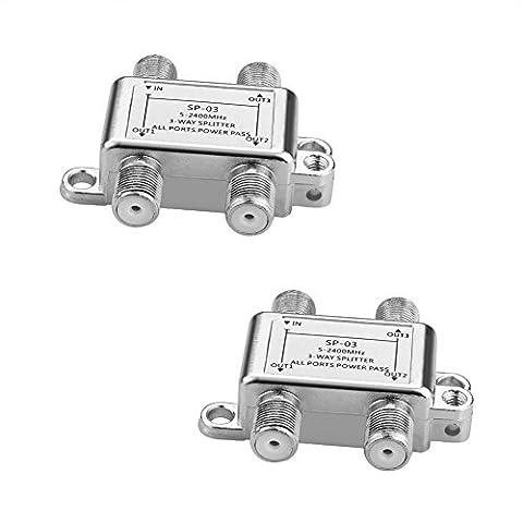 SIENOC SAT Verteiler Voll geschirmt (3-Wege), 5-2400 MHz / digital-tauglich   SAT splitter/distributor (3-way)   3-fach Verteiler für Satelliten-Anlagen (SAT-TV / DVB-S2) + BK + UKW Hörfunk (Radio)   DC-Durchlass   5-2400 MHz Frequenzbereich   Erdungsanschluss   Satelliten Verteiler (2 Stück SAT-Verteiler (Sat Anlage Verteiler)