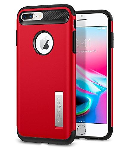 iPhone 7 Plus Hülle, Spigen® [Slim Armor] Integrierter Kickstand [Rose Gold] Luftpolster-Technologie an den Kanten / 2-teiliges Case Schutzhülle für iPhone 7 Plus Case, iPhone 7 Plus Cover - Rose Gold SA Crimson Red