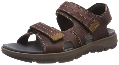 Clarks brixby shore, sandali a punta aperta uomo, marrone (dark brown lea), 43 eu