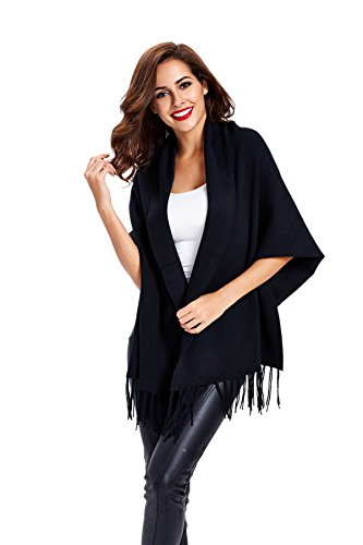 womens-tassel-loose-solid-color-nine-points-sleeve-kimono-cardigan-black