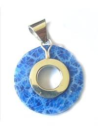 Chic-Net Korallenanhänger Anhänger Koralle blau gefärbt Blumenstruktur O-Form 925er Sterling Silber gefasst