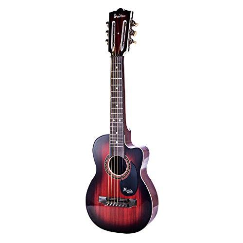 YAKOK Kinder Gitarre 6 Saiten Mini Kindergitarre Spielzeuggitarre Musik Instrumente Spielzeug für Kinder 3-12 Jahre Mädchen und Jungen Anfänger (Rot)