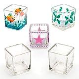 Baker Ross Quadratische Teelichthalter aus Glas (6 Stück)