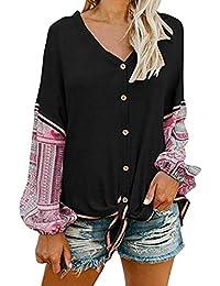 DEELIN Nouveau Style Femmes Mode Patchwork Tricot Bouton Cardigan À Manches  Longues Col en V Tie 95c1a1eea009