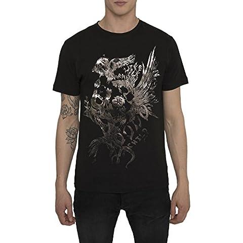 Camisetas para Hombre, T Shirt Cool Fashion Rock, Camiseta Gris, Negra con Estampada - EAGLE Designer Vintage Metal T-shirt de Algodón, Cuello redondo, Manga corta, Ropa Moda Moderna S M L XL XXL