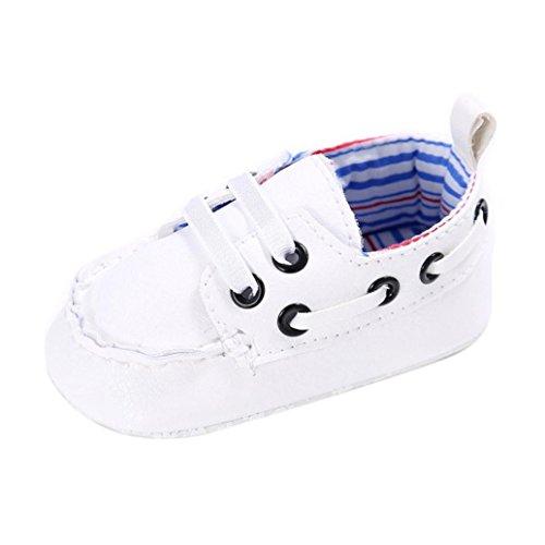 OverDose Baby-Schuhe Jungen-Mädchen Neugeborene Leder-Krippe Soft Sole Schuh Turnschuhe Sneakers Toddler shoes Prewalker (0-6 Monate, Weiß)