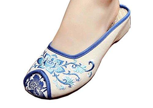 Black Temptation Womens bestickt Sommer Hausschuhe Wedges Sandalen Schuhe für Cheongsam, 09 - 09 Womens Schuhe
