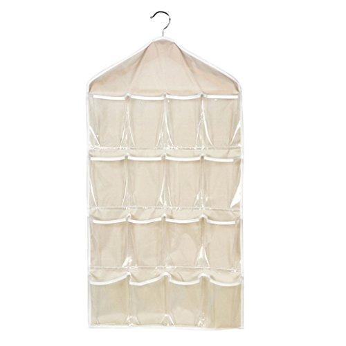 Sanwood® Schlafzimmer über Tür Wandbehang mit 16 Taschen Organizer Socken-Aufbewahrungstasche Haushalt Zubehör, beige, Einheitsgröße (Puppen-schrank Kleiderbügel)