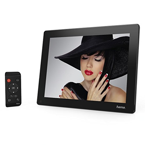 Hama Digitaler Bilderrahmen (30,73 cm (12,1 Zoll) LED Display, 4 GB interner Speicher, SD/SDHC-Kartenslot, USB, elektronischer Fotorahmen inkl. Fernbedienung, Bewegungssensor, Wandbefestigung) schwarz 4 Gb Usb-uhr