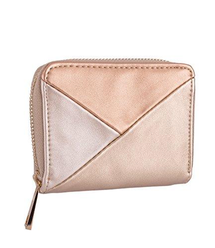 SIX Damen Portemonnaie, Geldbörse, metallic, gold, rosa (Piraten Geldbörse Herz)