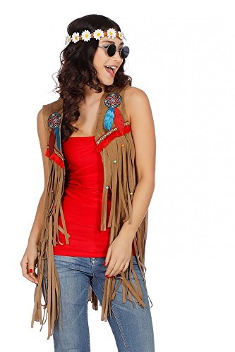 (Fransen-Weste in Wildleder-Optik für Hippie und Indianerin Damen Kostüm 70er Jahre, Größe:S)