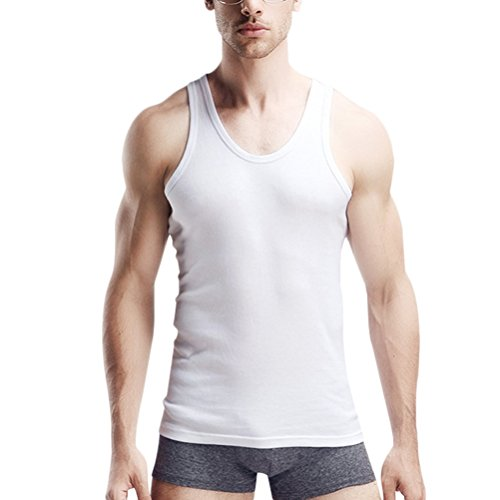 Zhhlinyuan 3 Colors Fashion Slim Cotton Underwear Top Cool Mens Athletic Elastic Vest White