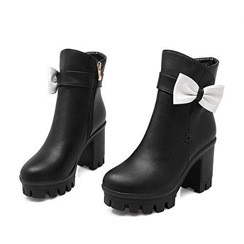 YE Damen Chunky High Heels Plateau Stiefeletten mit Blockabsatz Schleife und Reißverschluss 9cm Absatz Herbst Winter Schuhe Schwarz