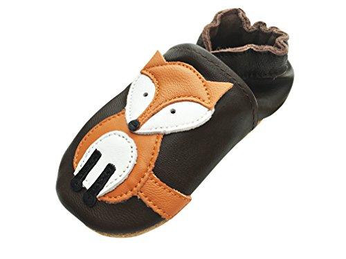 Engel+Piraten Krabbelschuhe Markenqualität Aus Deutschland Babyschuhe Leder Lauflernschuhe Lederpuschen Viele Modelle (2-3 Jahre(Gr.24/25), Fuchs Braun)
