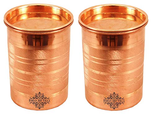 Indian Art Villa Copper Glass Tumbler Cup with Lid, Drinking Serving Water, Yoga Ayurveda  2