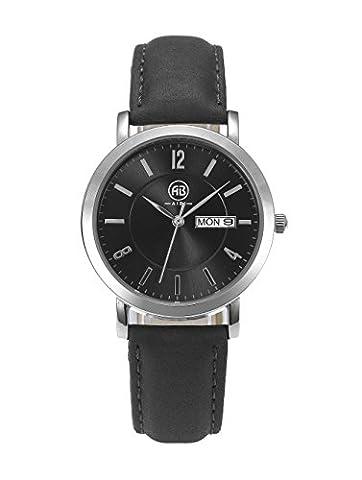 DMwatch Damen Uhren Schwarz Leder Armband Silber Lünette Schwarz Watchcase Mit Datum 3ATM Mode Wasserdicht Analoganzeige Quarz Damenuhren