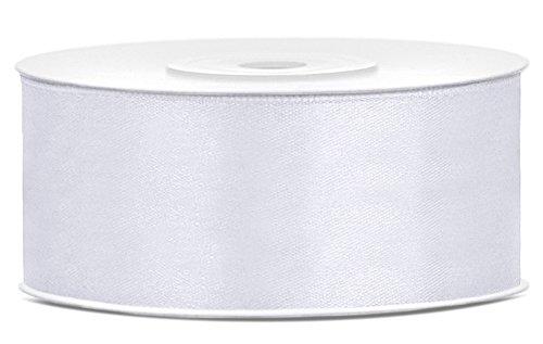 25m x 25mm Satinband Geschenkband Schleifenband Dekoband Satin Band (Weiß)