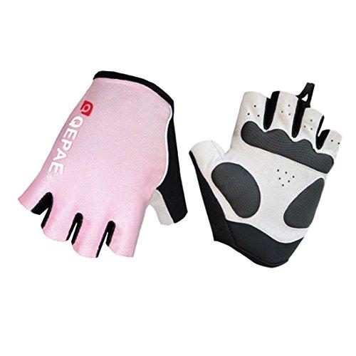 Lerway MTB Fahrrad Halbe Finger Radsport Fahrrad Handschuhe Motorrad handschuhe (Rosa, L)