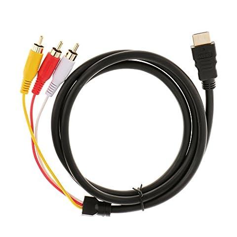 Gazechimp 1.5m Câble de HDMI Mâle à 3 RCA Audio