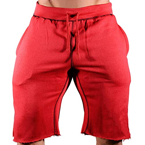 Sport Shorts Herren Sommer Strand Sea Surfen Kurze Hose Boxing Badeshorts Bermuda Running Fitness Gym Jogging Lightweight Training Shorts Baumwolle Qmber Raw Edge Schwarz Rot Grün Blau (Red,XL) - Edge Bermuda Shorts