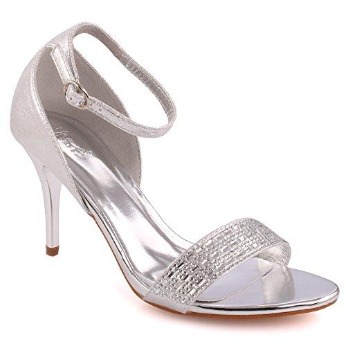 Unze Women 'Jollity' Tassel Detail Low Mid High Heel Party Prom Holen Sie sich zusammen Brunch Karneval Hochzeit Abend Sandalen Fersen Schuhe Uk Größe 3-8 - 18F9885-506 Silber