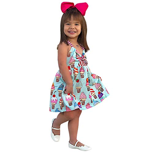 Clacce Kleine Mädchen Mädchen Kinder Sommer Freizeit Kleid Prinzessin Belle Bowknot Ice Cream Kleider Kostüm Kleidung Blumen Kleid Gedruckt Ärmelloses Schlittschuhläufer Kleider (Cream Kostüm Girl Ice)