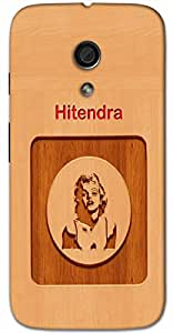 Aakrti Printed designers Back cover in wood finish For Smart Phone Model : Samsung Galaxy NOTE-2.Name Hitendra (Hindu Boy ) Will be replaced with Your desired Name