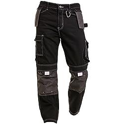 Qaswa Homme Pantalon De Travail Cargo Genouillères avec Poches Work Wear Trousers, Black, 40W / 30L