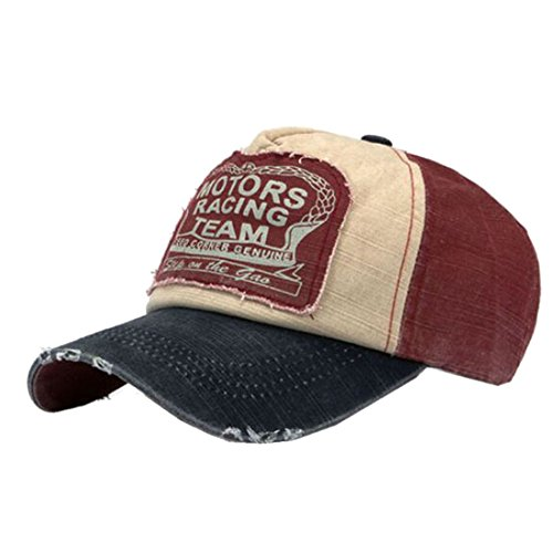 UMIPUBO Baseball Cap Outdoor Retro Cap Unisex Vintage Basecap Sport Mütze Snap back Trucker Baseballkappe (dunkelrot)