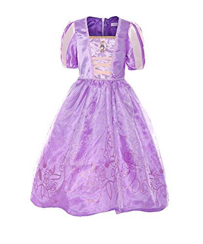 ReliBeauty Mädchen Kostüme Kurzarm Puffärmel Quadratischer Kragen Prinzessin Rapunzel Kleid, Violett, 116 (Etikett (Kragen Kleid Kostüm)