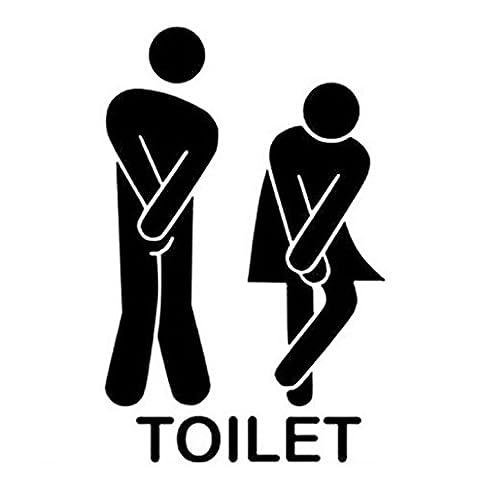 wuayi Removable Black Cute Man Woman Washroom Toilet WC Sticker Family DIY Decor