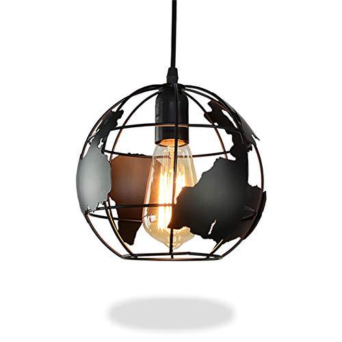 Pendelleuchte Lampe Industrielle Erde Geformt Globus Moderne Deckenleuchte Leuchte Schatten Kronleuchter Eisen Vintage Hängende Deckenleuchte E27 (Durchmesser 28cm) -