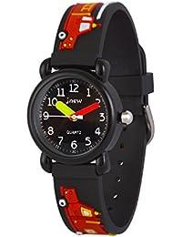 WOLFTEETH Analog Niños School Day reloj de Navidad con segunda mano Cool Water Face pequeño deporte al aire libre reloj Camion de Bomberos Negro 308102