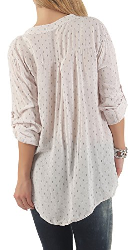 Malito Damen Bluse mit Anker Print | Tunika mit ¾ Armen | Blusenshirt Auch Langarm Tragbar | Elegant �?Shirt 9013 Rosa
