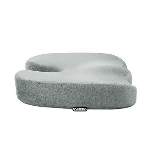 Naipo Memory Foam Seat Cushion Orthopedic Coccyx Sciatica Seat Cushion Car Seat Cushion Wheelchair Office Chair Seat Cushion Memory Foam for Lower Back Tailbone Coccyx Hemorrhoid Pelvic Pain Comfort Soft Seat Pad Foam Cushion for Home Car Office Chair Grey