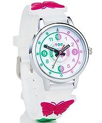 HAPIDS Lernuhr | Zeiger Armbanduhr Kinderuhr | Uhr zum Uhrzeit lesen lernen für Kinder | Mädchenuhr mit Schmetterling-Motiv | Farbe: Weiß & Rosa/Pink