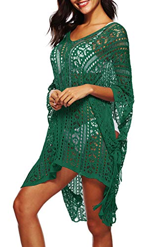 Copricostume Mare Donna Pizzo Vestito Etnico Estate Boho Hippie Chic Caftano Uncinetto Kaftano Elegante Kimono Scollo a V Abito Manica Pipistrello Tunica da Spiaggia Costumi da Bagno Bikini Cover Up
