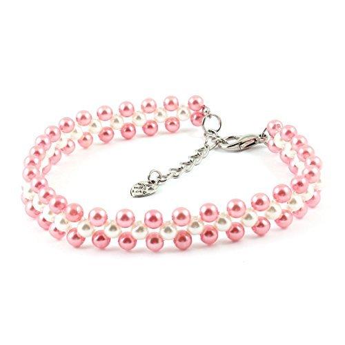 DealMux drei Reihen Perlen verlinkte Hund Yorkie-Kragen-Halskette, Groß, Rosa / Weiß (Yorkie-perle)