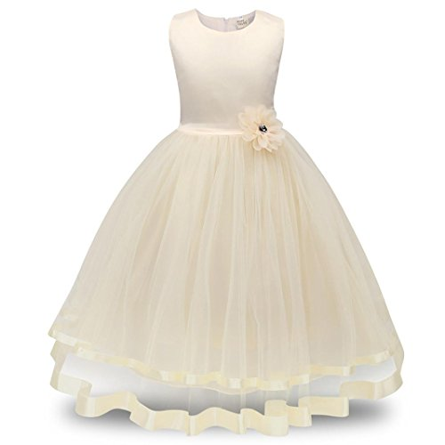 AMUSTER Maedchen Kleid Prinzessin Kleid Hochzeits Festzug Kleid Blumenmaedchenkleid Mädchen Kostüm Blume Hochzeit Bankett Party Kleid Tüll Kleid (140, Beige)