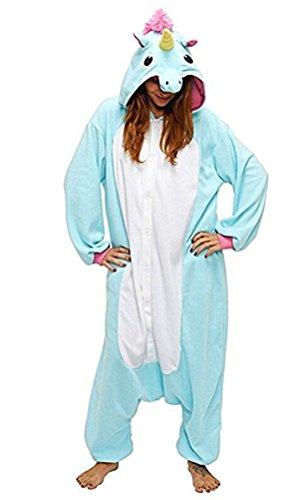igurumi Licorne Pyjama Adulte Anime pyjamas tenue Onesie Cospaly Fête Flannels Costume Animaux Anime Halloween Onesie blau S (Costume De Halloween Adulti)