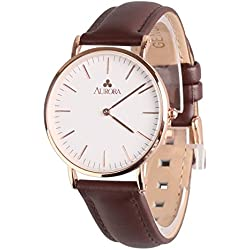 Aurora Women's Unique Metal Retro Casual Business Quartz Analogue Wrist Watch with Brown Band-Rose Gold