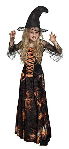 Halloweenia - Mädchen Kinder Kostüm glänzendes Corsagenkleid Kürbis Hexe Zauberin Magierin, Dazzling Pumpkin Witch, perfekt für Halloween Karneval und Fasching, 140-152, ()
