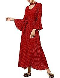 Vestito lungo dalla camicia di vestito dal manicotto di stile di Boho delle  donne stampa floreale 487efc05ff1