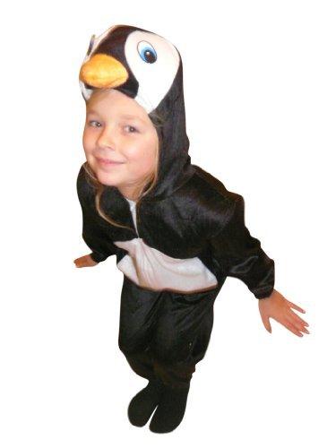 Ikumaal Pinguin-Kostüm, AN46, Gr. 128-134, für Kinder, Pinguin-Kostüme Pinguine für Fasching Karneval, Klein-Kinder Karnevalskostüme, Kinder-Faschingskostüme, Geburtstags-Geschenk Weihnachts-Geschenk