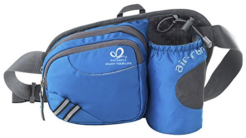 WATERFLY Waist Pack Fanny Pack Bum Bag Hip Pack Running Bag Waist Bag Running Belt Sack Water Resistant with Bottle (Not Included) Holder for Hiking Camping Dog Walking Nylon Fabric (Blue)