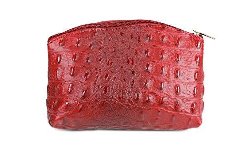 "BELLI ""Bellini"" kleine Leder Kosmetiktasche Make Up Tasche - Farbauswahl - 18x13x5 cm (B x H x T) Bordeaux kroko"